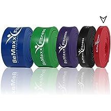 Banda elástica de resistencia BeMaxx Fitness + guía de entrenamiento   Para pull–ups crossfit, yoga, pilates   Banda de tracción para fitness y estiramientos   Duradera, resistente, versátil