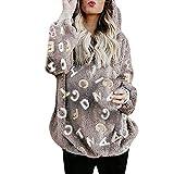 Mujer Caliente y Esponjoso Tops Chaqueta Suéter Abrigo Jersey Mujer Otoño-Invierno Talla Grande Hoodie Sudadera con Capucha riou (1- Morado, XL)