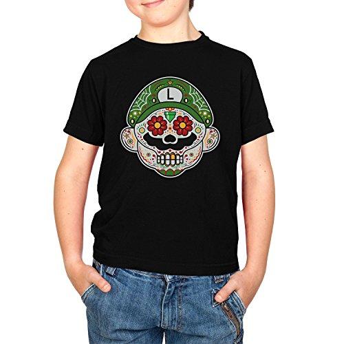 Mario Kostüm Super Maker Luigi - NERDO - Mexican Luigi - Kinder T-Shirt, Größe M, schwarz