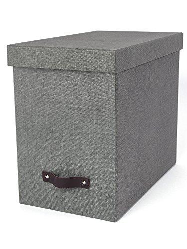 Bigso Box of Sweden Hängeregisterbox mit Deckel - stilvolle Archivschachtel inklusive 8 Hängehefter - Hängemappenbox aus Faserplatte und Papier in stilvoller Leinenoptik - grau (Papier-boxen Mit Deckel)