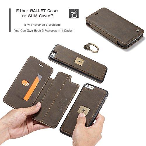 "Wkae CaseMe PU Leder Flip Cover mit Cash / Card Slot, Kick Stand Funktion und Magnetring Halter Wallet Case für Apple iPhone 6S Plus 5,5 ""Zoll ( Color : Yellow ) Coffe"