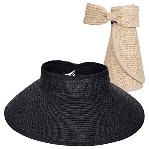 Maylisacc Faltbar Visoren Sonnenhut Damen Sommer Visor Hat Ponytail Cap (2 Pack)