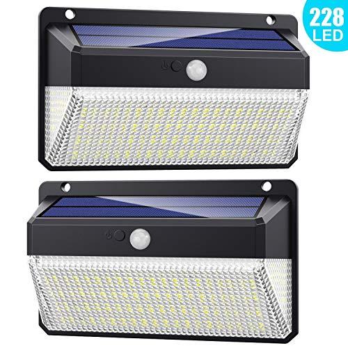 Luce solare led esterno 228 led, 【versione migliorata 2200 mah】lampada solare con sensore di movimento 2200mah luci esterno energia solare impermeabile con 3 modalità - 2 pezzi