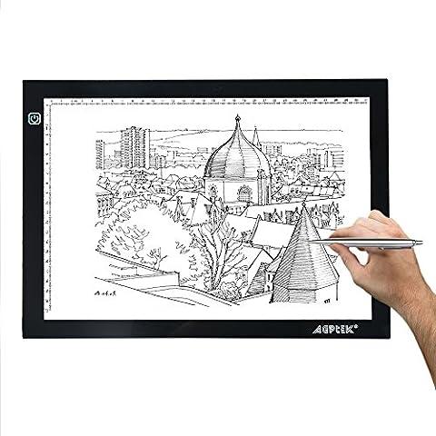 Tablette lumineuse - AGPtek légère Table lumineuse - A4 32X23cm LED Pad pour dessiner & encrer les Dessins - Plaque PVC avec Câble USB, Luminosité réglable - nouvelle Version