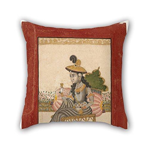 Pillo 40,6x 40,6cm/40, 40cm de peinture à l'huile indienne de Inconnues–A Paré Lady Taie d'oreiller, deux fois plus côtés s'adapte pour extérieur, enfants, vos proches, siège auto, GF, chaise longue