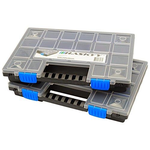 2x XL Organizer Sortimentskasten 345x249x50mm Kleinteilemagazin Schraubenbox Werkzeugkasten Sortimentskisten (Organizer-tool-box)