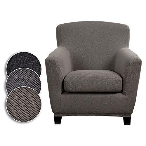 Bellboni® Couchhusse für Einsitzer Couchsessel, Loungesessel, Sofabezug, bi-elastische Stretchhusse, Spannbezug für viele gängige Einer Sessel, grau