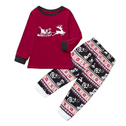 BaZhaHei Weihnachten Schlafanzüge für die ganze Homewear Familie Mami Cartoon Bluse Hose Familien Pyjamas Nachtwäsche passend zum Weihnachts-Set