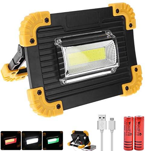 Luci di Inondazione a LED Ricaricabili da Lavoro a LED COB Portatili e Impermeabili per il Campeggio Emergenza Riparazione Auto Escursionismo 3 Modalità Luci Verdi e Bianche Rosse