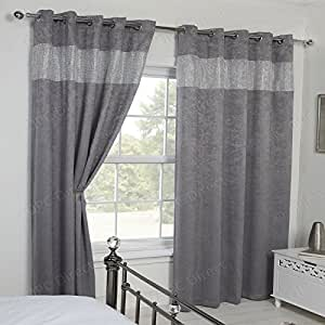 Qpc Direct Luxury Crushed Velvet Diamante Blackout Thermal Eyelet Curtains Silver Grey 66 X