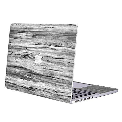 MOSISO Decal Sticker Kompatibel MacBook Pro 13 Retina - Abziehbild Cover PU Leather Material Kompatibel MacBook Pro 13 Zoll Retina (A1502/A1425, Version 2015/2014/2013/2012), Schwarz Holzmaserung