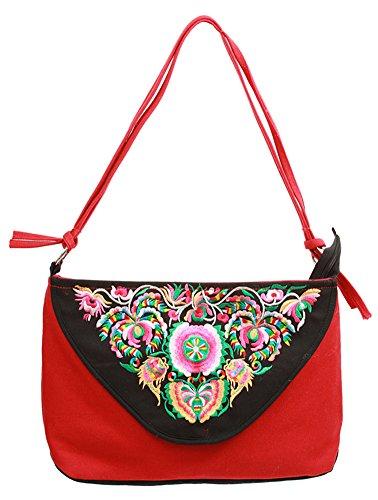 Icegrey Damen Handgemachte Gestickte Taschen Handtasche Schultertasche Rot (Clogs Schwarz Bestickte)