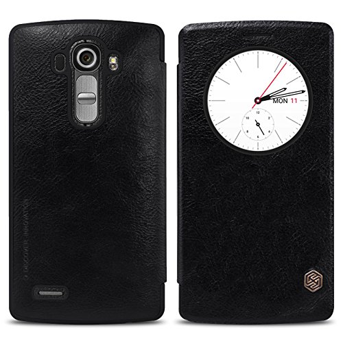 Nillkin Qin Royal Leather Bumper Flip Case Cover with Sensor Window QuickCirle View For LG G4 – BLACK