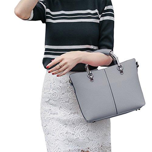 DISSA ES849 neuer Stil PU Leder Deman 2018 Mode Schultertaschen handtaschen Henkeltaschen,310×105×210(mm) Grau