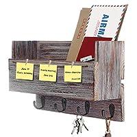Halcent Entryway Mail Organizer Coat Rack Key Holder Hooks, Newspaper Magazine Holder with Memo Board Wall Decor