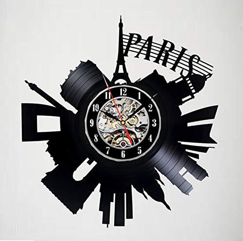Knncch Horloge Murale avec Disque Vinyle Paris - Décor De Chambre d'amis - Un Cadeau Idéal pour Les Enfants, Les Adultes Et Les Hommes