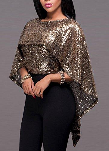 Damen Blusen Oberteil T-Shirts Cape Fledermausärmel O Ausschnitt Sequins Stitching Die Neue Loose Sommer Einteiler 2017 Braun