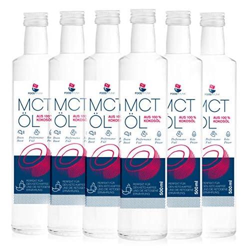 6 X Mct L Von Foodpunk In 6 X 500ml Glasflasche Aus 100 Kokosl 60 Caprylsure Und 40 Caprinsure