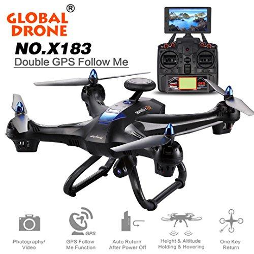 HARRYSTORE Globale Drone X183 5.8GHz 6-Achsen Gyro WiFi FPV 1080P Kamera Dual-GPS Automatik Folgen Sie Funktion Quadcopter (Schwarz)
