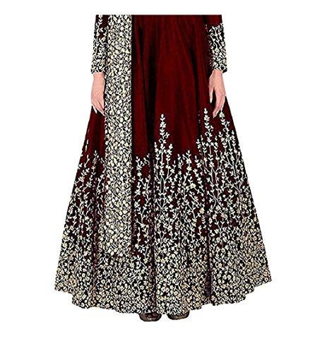 BRIDAL4Fashion Women's Taffeta Silk Semi Stitched Maroon Anarkali Long Gown (Free Size) (Maroon)