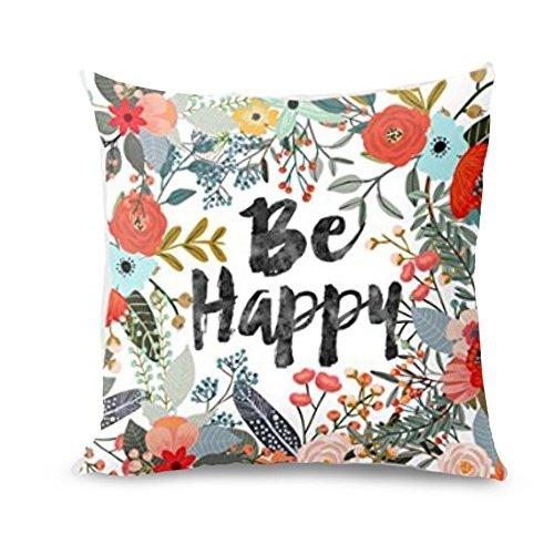 FeiliandaJJ Pillowcases 40x40cm,Be Happy Drucken Decorative Kissenbezug Wohnzimmer Sofa Bed Home Kissenhülle Super weich Zierkissenbezüge Pillows Cover Taille Wurf Kissenbezüge (A)