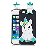 Coque iPhone 5S Silicone Coque iPhone Se avec Motif 3D Licorne Noir Housse pour iPhone 5 Apple Ultra Fine TPU Souple Étui Cute Mignon Slim Soft Flexible Protection Cover Bumper Case