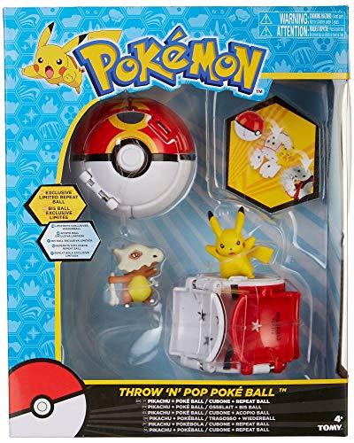 Juego de figuras de Pokemon Throw 'n' Pop Pikachu & Poke Ball/Cubone & Repeat Ball