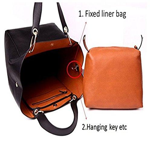 Borse Donna Pelle Semplice borsetta Pelle artificiale Moda impermeabile Grande Capacità Nero