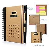 Betterhill Exclusiv A5 Organizer mit Ringbuch,Solar Rechner,Ringbuch,inkl. A5-Schreibblock Mit Stift,60 Seiten 20.6 x 17.5 x 2.5CM Braun