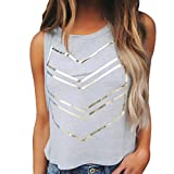 Tops Damen,Binggong Frauen Sommermode Bluse Druck Sleeveless Weste T-Shirt Elegant Tops Mode Shirt Reizvoller Blusen Sommer Damen Shirt Oberteile (S, Grau)