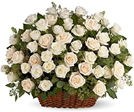 Floralbay Basket Arrangement of 100 White Roses with Fillers or Greenery