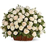 Floralbay Basket Arrangement of 100 White Roses with Fillers/Greenery