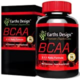 Earths Design BCAA, Branched Chain Amino Acids For Weight Loss, Optimum Nutrition for Bodybuilding, Strength and Endurance, Contains Glutamin for Pre Workout & Recovery, Made in the UK, 90 Capsules