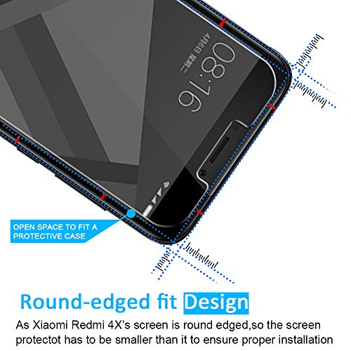 [3 Unidades] Protector de Pantalla Xiaomi Redmi 4X / Redmi 4X Pro  iVoler Cristal Vidrio Templado Premium Para Xiaomi Redmi 4X / Redmi 4X Pro [9H Dureza] [Alta Definicion 0.2mm] [2.5D Round Edge]
