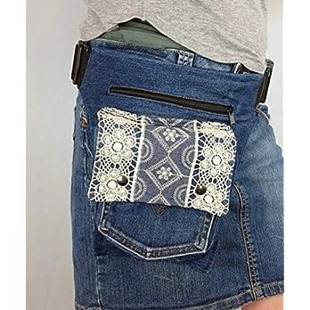 Hüfttasche hergestellt aus eine blaue recycledeJeans Hose mit Kant auf die Klappe, Tasche Hipsypixie