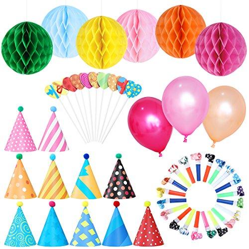NUOLUX Kit de decoraciones para fiesta de cumpleaños - Sombreros de cono de papel con Pom Poms Globos de fiesta Globos suspendidos Papel Honeycomb Bolas de flores Tapas de pastel en forma de corazón