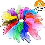 28 Stück Tanz Tücher Square Jongliertücher Magic Schals, 14 Farben, 24 x 24 Zoll