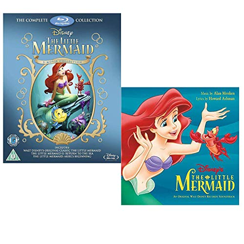 Little Mermaid Complete Collection Box-Set - Walt Disney Movie and Soundtrack Bundling - Blu-ray and CD