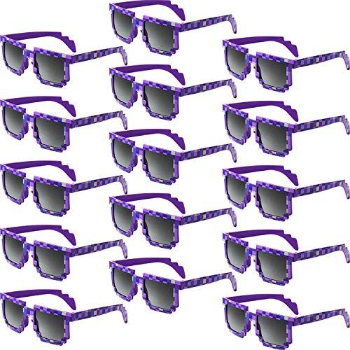 Weewooday 15 Paar Retro Spieler Roboter Sonnenbrille Brille Geburtstagsfeier Gefälligkeiten für Kinder und Erwachsene (Lila)
