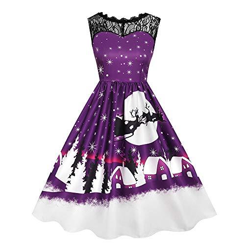 UJUNAOR Spitzennähten Damen-Print-Kleid mit Ohne Arm Weihnachtsdruck für -