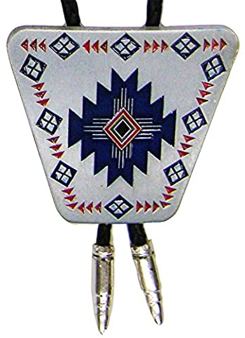 Modestone Unisex Bolo Large Native Pattern & Silver Bullets O/S Silver