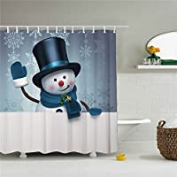 Snowman Shower Curtain Cortina de ducha con 12 ganchos para el día de la Navidad, diseño de muñeco de nieve, color blanco, tamaño 69 x 84 cm