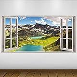 Extra Grande Verdes montañas Lago Naturaleza Nieve Vinilo 3D Póster - Mural Decoración - Etiqueta de la Pared -140cm x 70cm
