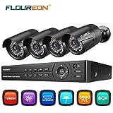 Floureon Système de caméras de surveillance CCTV 8CH 1080N DVR 4x 3000tvl Bullet Caméras de sécurité P2P télécommande/vision nocturne/Détection de mouvement, noir