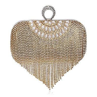 Frauen Quaste Diamanten Abend Tasche Ruby