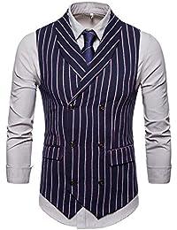LUBITY Gilet de Homme sans Manches à Rayure Business Rétro Double  Boutonnage Costume Blazers Gilet Costume da4eafe974f