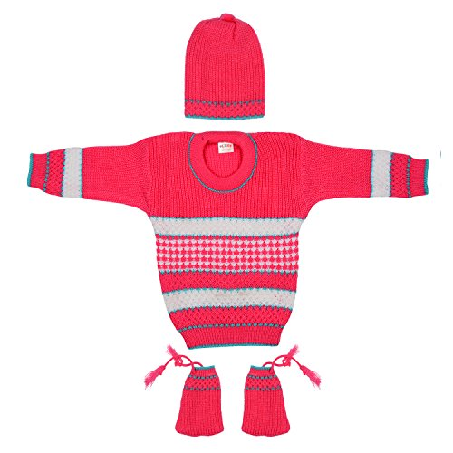 Littly Baby Girl's and Boy's Woollen Knitted Round Neck Sweater with Cap and Booties Set 3-Pieces (10271-PIM, Pink, 6-12 Months)