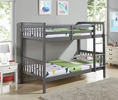 Home Detail Children's Wooden Bunk Bed Single 3FT Frame | Choice of 3 Colours (Grey)