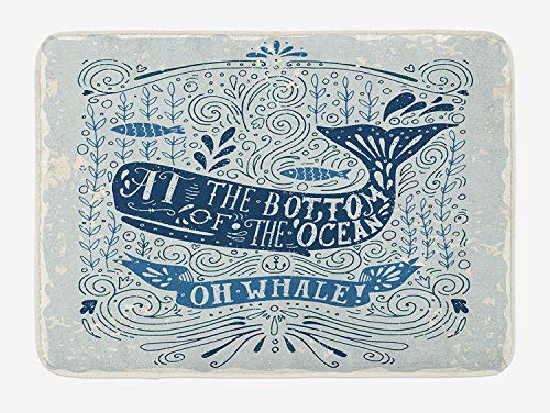 CHKWYN Whale Bath Mat, Old Fashion at The Bottom of The Ocean Quote with Nostalgic Illustration, Plush Bathroom Decor Mat with Non Slip Backing, 23.6 W X 15.7 W Inches, Dark Blue Almond Green -