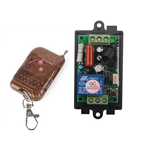 Transmisor de mando a distancia para sistema de conexión radiocontrol de 1 canal, 220V CA, 10 A, conrelé. Receptor y emisor con2botones para luz del motor, bomba de 433MHz, salida de relé e interruptor a distancia, control remoto para puerta de garaje